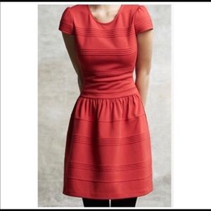ANTHRO girls of savoy red capped sleeve dress 4